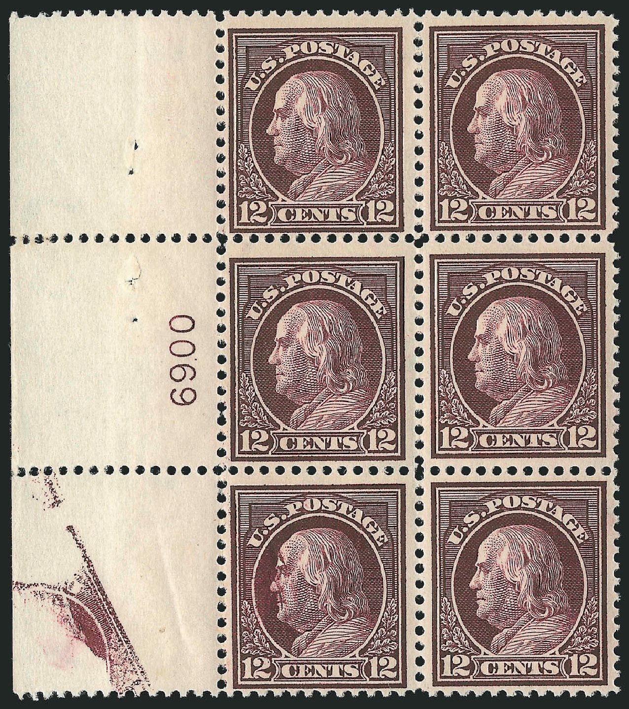 US Stamps Prices Scott Catalogue 417 - 1914 12c Franklin Perf 12. Robert Siegel Auction Galleries, Apr 2015, Sale 1096, Lot 664