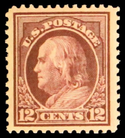 US Stamps Values Scott # 417 - 1914 12c Franklin Perf 12. Daniel Kelleher Auctions, May 2014, Sale 652, Lot 622