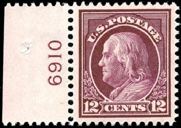 US Stamps Values Scott Catalogue 417 - 12c 1914 Franklin Perf 12. Schuyler J. Rumsey Philatelic Auctions, Apr 2015, Sale 60, Lot 2812