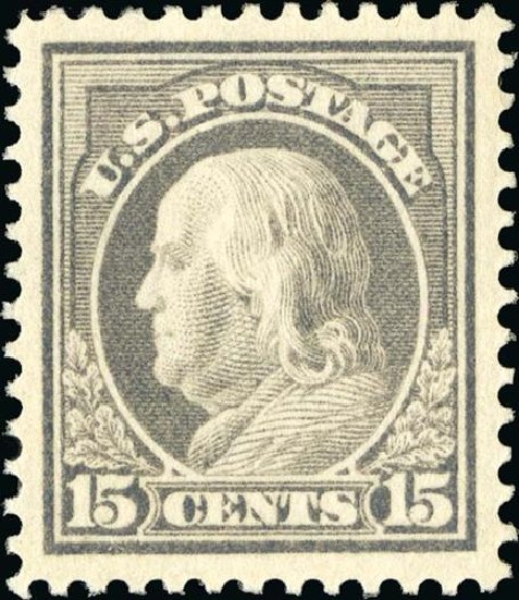 Value of US Stamp Scott Catalogue 418 - 1912 15c Franklin Perf 12. Spink Shreves Galleries, Jan 2015, Sale 150, Lot 167