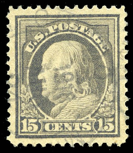 US Stamps Prices Scott Catalogue #418 - 1912 15c Franklin Perf 12. Matthew Bennett International, May 2014, Sale 350, Lot 570