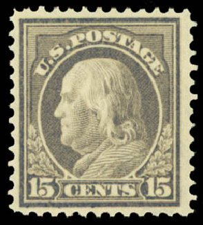 Value of US Stamps Scott #418: 15c 1912 Franklin Perf 12. Daniel Kelleher Auctions, Dec 2014, Sale 661, Lot 341