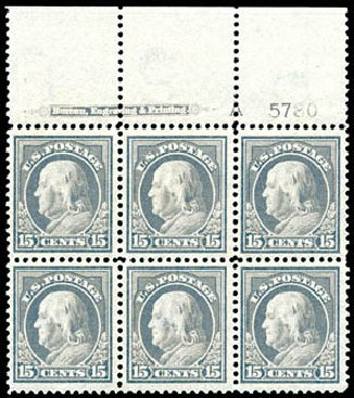Value of US Stamps Scott Catalogue #418: 15c 1912 Franklin Perf 12. Schuyler J. Rumsey Philatelic Auctions, Apr 2015, Sale 60, Lot 2921