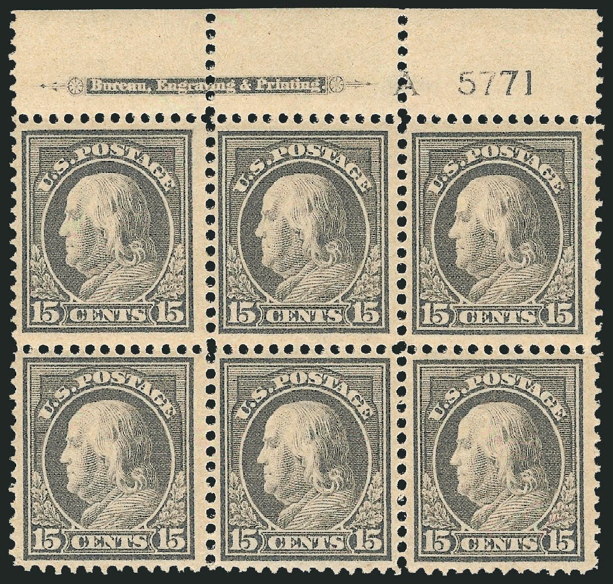 Value of US Stamp Scott Catalog # 418 - 1912 15c Franklin Perf 12. Robert Siegel Auction Galleries, Feb 2015, Sale 1093, Lot 271