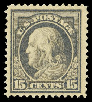 Price of US Stamps Scott Catalog # 418 - 1912 15c Franklin Perf 12. Daniel Kelleher Auctions, May 2015, Sale 669, Lot 2995