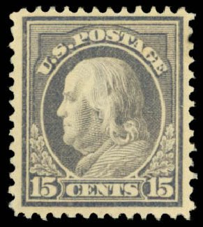 US Stamps Values Scott Catalog #418: 15c 1912 Franklin Perf 12. Daniel Kelleher Auctions, Dec 2014, Sale 661, Lot 342