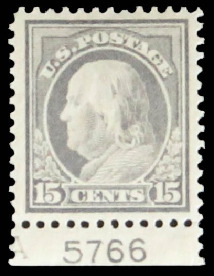US Stamp Values Scott Cat. 418: 15c 1912 Franklin Perf 12. Daniel Kelleher Auctions, May 2014, Sale 652, Lot 623