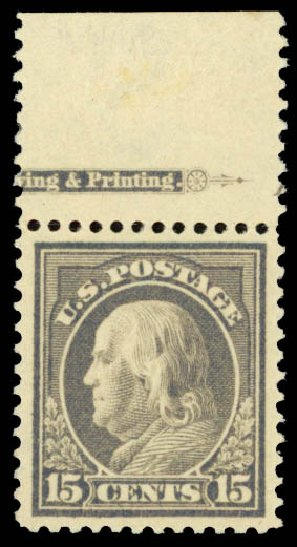 US Stamp Prices Scott Catalogue #418 - 15c 1912 Franklin Perf 12. Daniel Kelleher Auctions, Oct 2014, Sale 660, Lot 2366