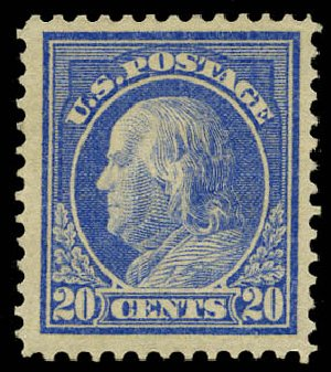 Cost of US Stamps Scott Catalog #419: 1914 20c Franklin Perf 12. Daniel Kelleher Auctions, May 2015, Sale 669, Lot 2997
