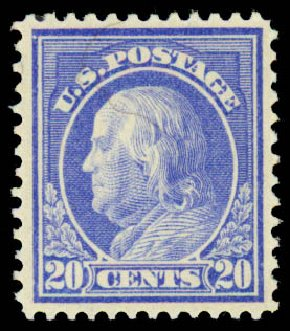 Costs of US Stamp Scott Catalogue # 419: 20c 1914 Franklin Perf 12. Daniel Kelleher Auctions, Aug 2015, Sale 672, Lot 2717