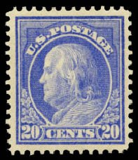 US Stamps Prices Scott 419: 1914 20c Franklin Perf 12. Daniel Kelleher Auctions, Aug 2015, Sale 672, Lot 2718