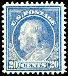 Values of US Stamps Scott Cat. 419 - 20c 1914 Franklin Perf 12. Schuyler J. Rumsey Philatelic Auctions, Apr 2015, Sale 60, Lot 2378