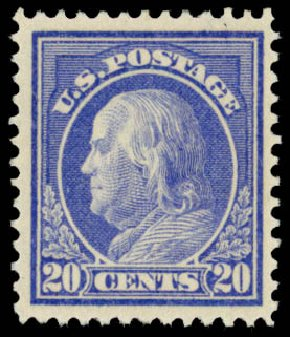Cost of US Stamp Scott Catalogue 419: 1914 20c Franklin Perf 12. Daniel Kelleher Auctions, Dec 2014, Sale 661, Lot 344