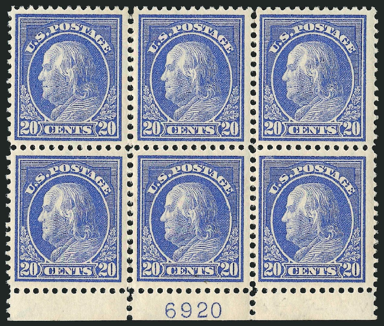 Costs of US Stamp Scott Cat. # 419 - 20c 1914 Franklin Perf 12. Robert Siegel Auction Galleries, Apr 2015, Sale 1096, Lot 665
