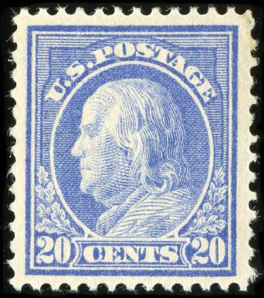 US Stamp Prices Scott Catalog # 419: 20c 1914 Franklin Perf 12. Spink Shreves Galleries, Jul 2015, Sale 151, Lot 295