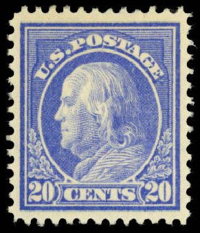 US Stamp Price Scott Cat. 419: 20c 1914 Franklin Perf 12. Daniel Kelleher Auctions, Dec 2014, Sale 661, Lot 343