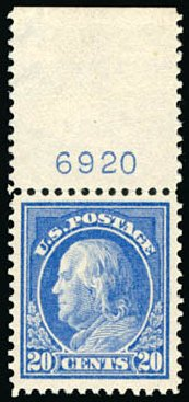 Price of US Stamp Scott 419 - 1914 20c Franklin Perf 12. Schuyler J. Rumsey Philatelic Auctions, Apr 2015, Sale 60, Lot 2813