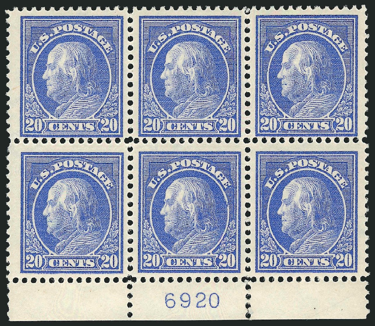 US Stamps Prices Scott Catalog 419: 20c 1914 Franklin Perf 12. Robert Siegel Auction Galleries, Feb 2015, Sale 1093, Lot 273