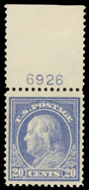 Price of US Stamps Scott Cat. # 419: 1914 20c Franklin Perf 12. Daniel Kelleher Auctions, May 2015, Sale 669, Lot 2996