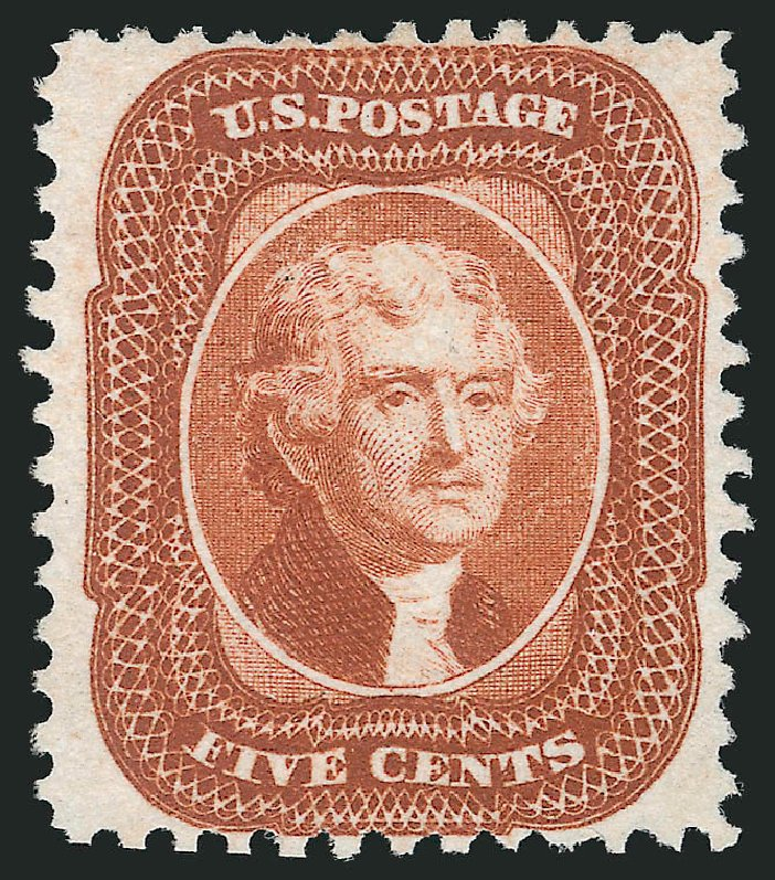 Values of US Stamp Scott Catalog #42: 1875 5c Jefferson Reprint. Robert Siegel Auction Galleries, Oct 2014, Sale 1082, Lot 362