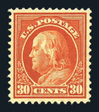 Costs of US Stamps Scott Catalog #420 - 1914 30c Franklin Perf 12. Harmer-Schau Auction Galleries, Aug 2015, Sale 106, Lot 1809