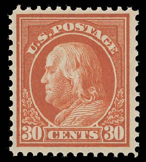 Cost of US Stamp Scott Cat. 420: 30c 1914 Franklin Perf 12. Daniel Kelleher Auctions, Aug 2015, Sale 672, Lot 2719