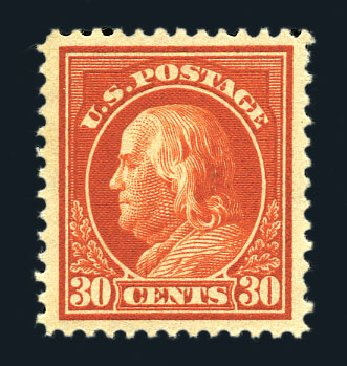 US Stamp Prices Scott Catalogue #420: 30c 1914 Franklin Perf 12. Harmer-Schau Auction Galleries, Aug 2015, Sale 106, Lot 1810