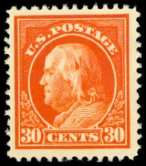 US Stamps Price Scott #420: 30c 1914 Franklin Perf 12. Daniel Kelleher Auctions, Aug 2015, Sale 672, Lot 2720