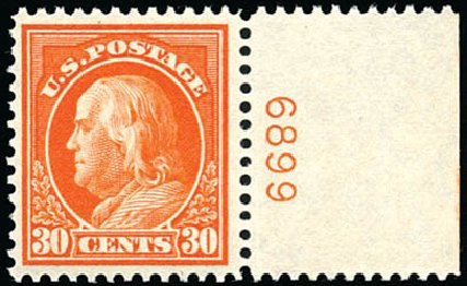 Price of US Stamp Scott #420: 1914 30c Franklin Perf 12. Schuyler J. Rumsey Philatelic Auctions, Apr 2015, Sale 60, Lot 2814