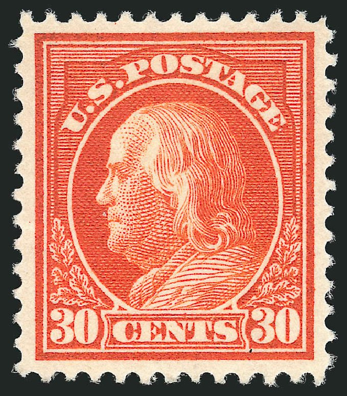 Value of US Stamps Scott Cat. #420 - 30c 1914 Franklin Perf 12. Robert Siegel Auction Galleries, Feb 2015, Sale 1093, Lot 275