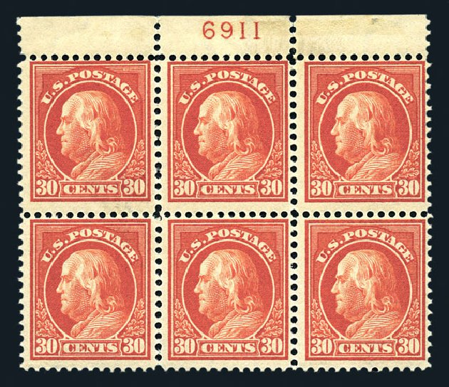 US Stamp Values Scott Catalog 420: 1914 30c Franklin Perf 12. Harmer-Schau Auction Galleries, Aug 2015, Sale 106, Lot 1812
