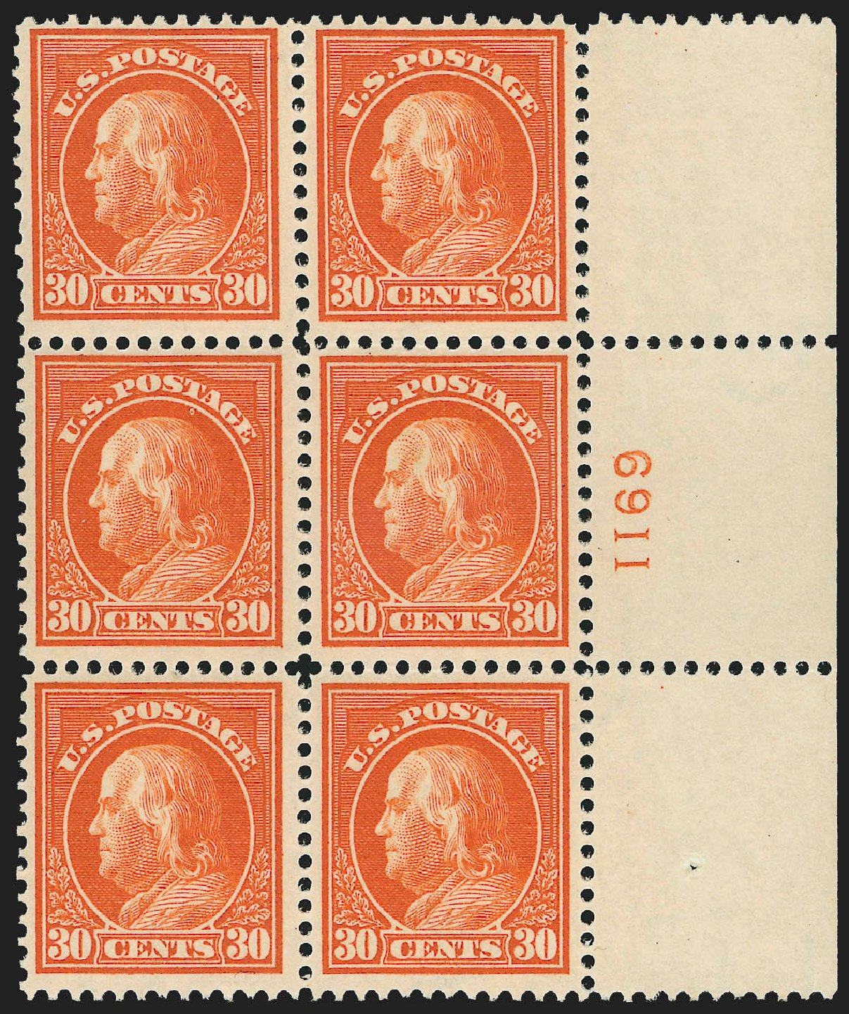 Values of US Stamps Scott Catalogue 420: 1914 30c Franklin Perf 12. Robert Siegel Auction Galleries, Jul 2015, Sale 1107, Lot 462