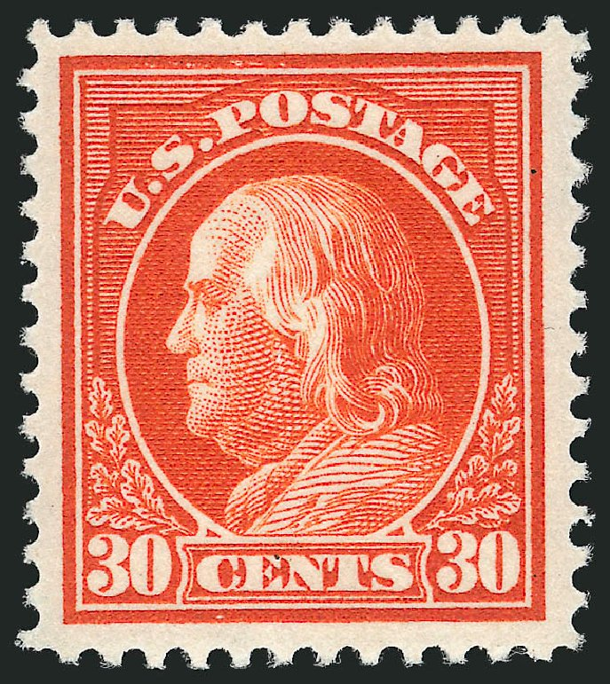 Price of US Stamp Scott Cat. 420 - 1914 30c Franklin Perf 12. Robert Siegel Auction Galleries, Apr 2015, Sale 1096, Lot 666