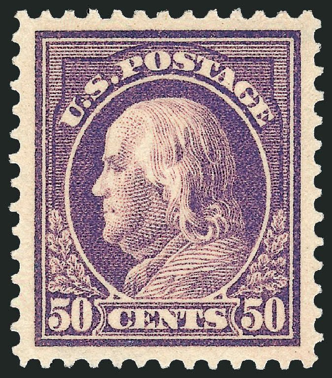 Values of US Stamp Scott Cat. # 421: 1914 50c Franklin Perf 12. Robert Siegel Auction Galleries, Feb 2015, Sale 1093, Lot 278