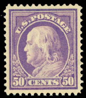 US Stamps Values Scott 421: 1914 50c Franklin Perf 12. Daniel Kelleher Auctions, May 2015, Sale 669, Lot 2999