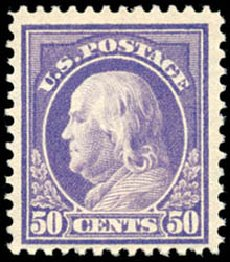 US Stamp Value Scott Catalogue # 421 - 1914 50c Franklin Perf 12. Schuyler J. Rumsey Philatelic Auctions, Apr 2015, Sale 60, Lot 2379