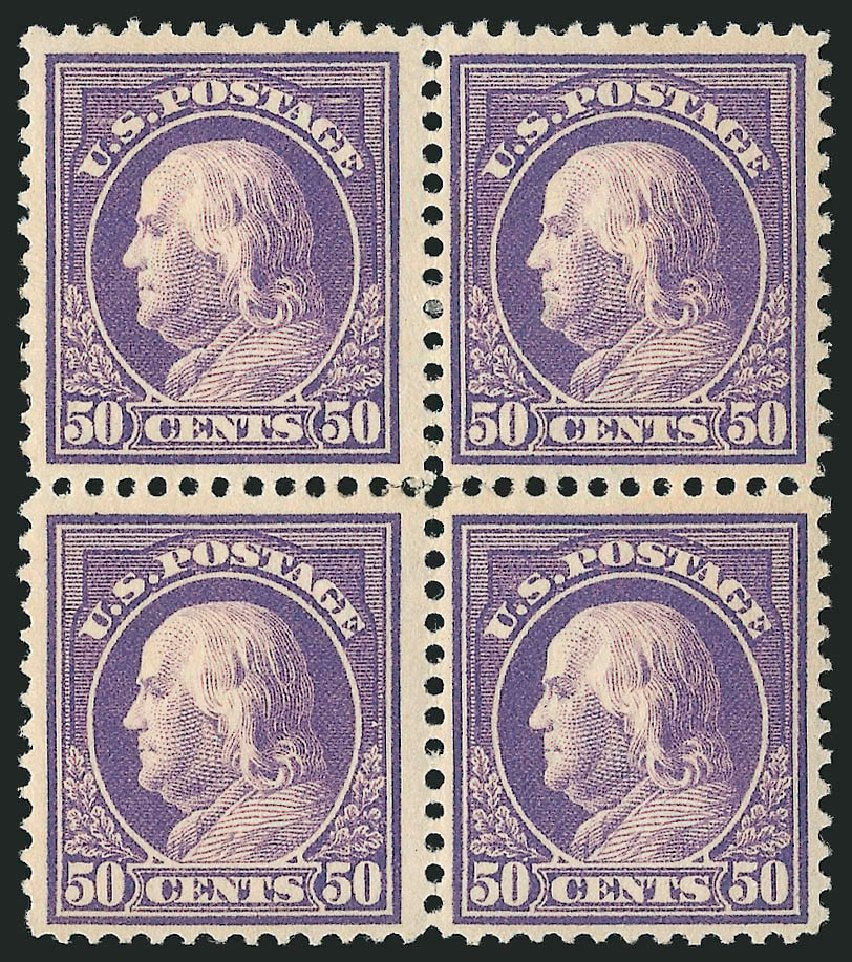 US Stamp Values Scott Catalog 421 - 50c 1914 Franklin Perf 12. Robert Siegel Auction Galleries, Apr 2015, Sale 1096, Lot 669