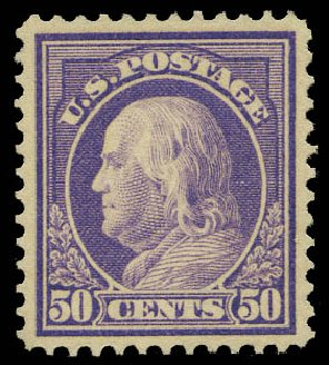 Costs of US Stamp Scott #421: 1914 50c Franklin Perf 12. Daniel Kelleher Auctions, May 2015, Sale 669, Lot 3000