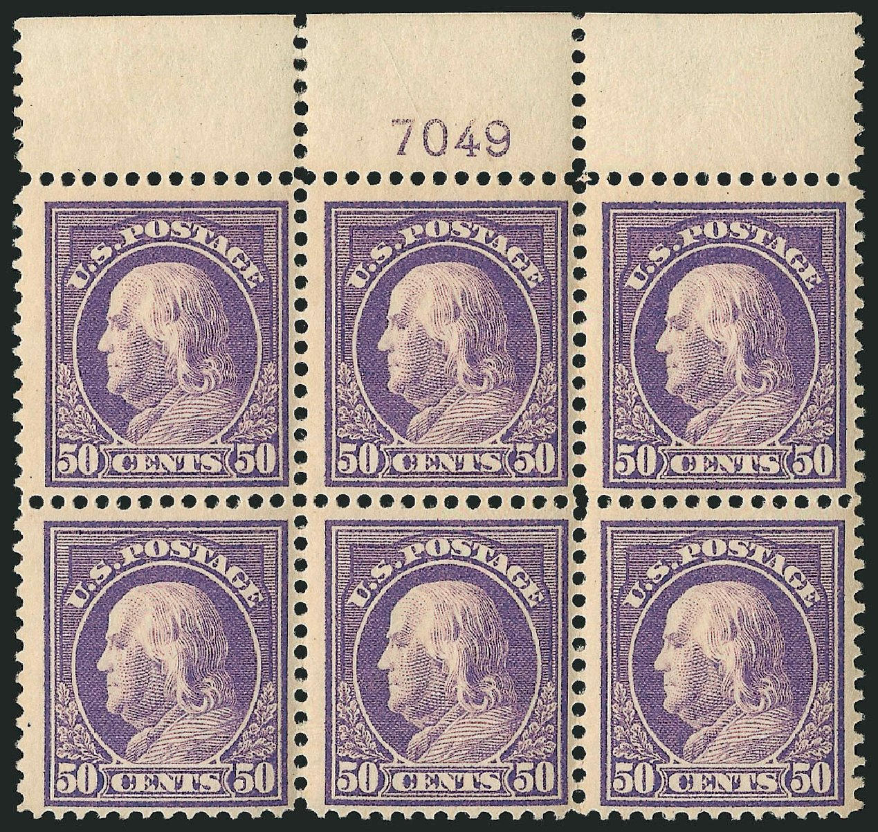 US Stamp Value Scott 421 - 1914 50c Franklin Perf 12. Robert Siegel Auction Galleries, Apr 2015, Sale 1096, Lot 670