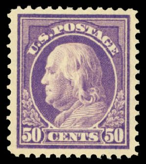 Values of US Stamps Scott Catalogue # 421 - 1914 50c Franklin Perf 12. Daniel Kelleher Auctions, May 2015, Sale 669, Lot 3001