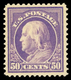 Price of US Stamps Scott Catalogue 421 - 1914 50c Franklin Perf 12. Daniel Kelleher Auctions, Aug 2015, Sale 672, Lot 2721