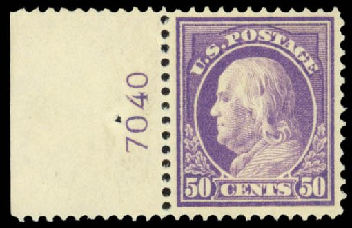 Value of US Stamps Scott # 421: 50c 1914 Franklin Perf 12. Daniel Kelleher Auctions, Jan 2015, Sale 663, Lot 1775