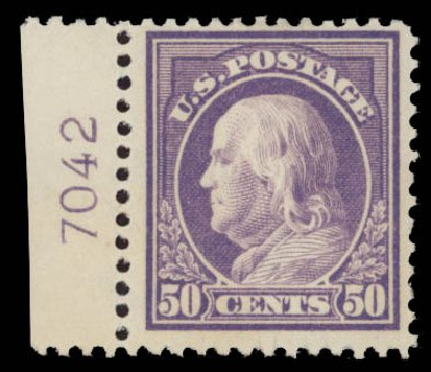 US Stamps Values Scott # 421 - 50c 1914 Franklin Perf 12. Daniel Kelleher Auctions, May 2015, Sale 669, Lot 3002