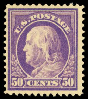 US Stamps Value Scott Cat. 421 - 50c 1914 Franklin Perf 12. Daniel Kelleher Auctions, May 2015, Sale 669, Lot 3003