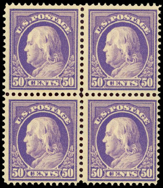 Price of US Stamps Scott Cat. 422 - 50c 1914 Franklin Perf 12. Daniel Kelleher Auctions, Jan 2015, Sale 663, Lot 1778