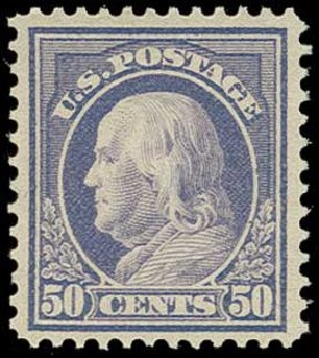 US Stamps Prices Scott Cat. 422: 50c 1914 Franklin Perf 12. H.R. Harmer, Jun 2015, Sale 3007, Lot 3330