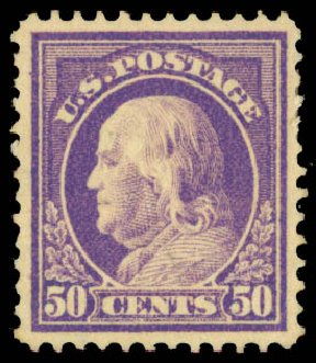 US Stamp Prices Scott Cat. # 422: 1914 50c Franklin Perf 12. Daniel Kelleher Auctions, May 2015, Sale 669, Lot 3004