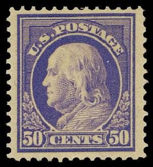 US Stamps Values Scott #422: 1914 50c Franklin Perf 12. Daniel Kelleher Auctions, May 2015, Sale 669, Lot 3005