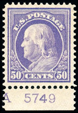 US Stamps Price Scott 422 - 1914 50c Franklin Perf 12. Schuyler J. Rumsey Philatelic Auctions, Apr 2015, Sale 60, Lot 2815