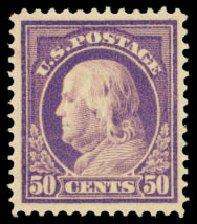 US Stamps Values Scott Catalogue 422: 1914 50c Franklin Perf 12. Daniel Kelleher Auctions, Aug 2015, Sale 672, Lot 2722